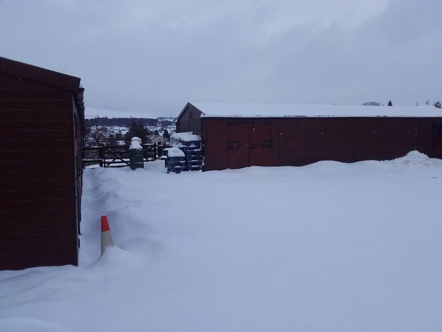 Snow blocked car park