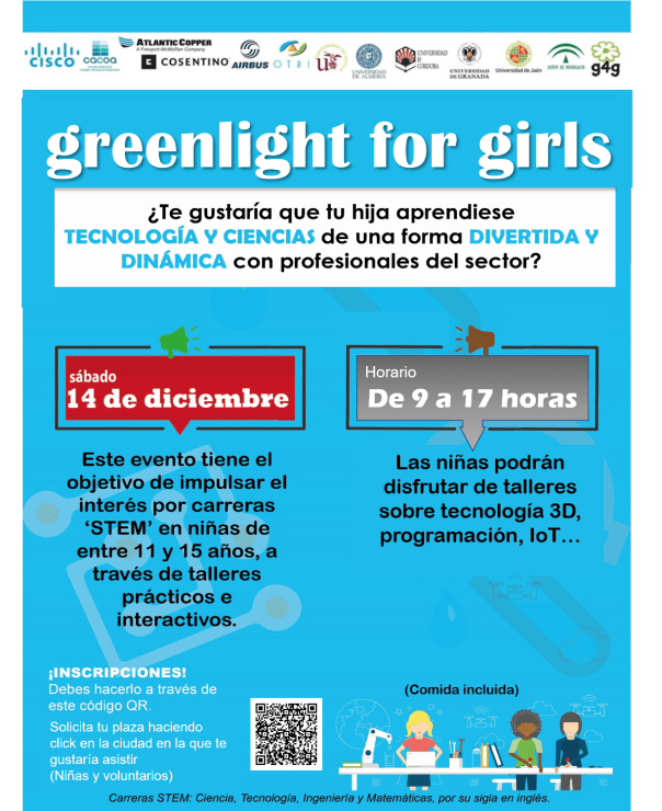 "Cartel del evento ""green light for girls"" con la fecha y hora, y la forma de apuntarse."