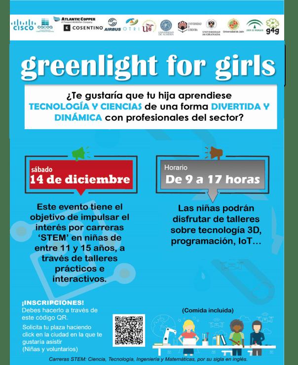 """Cartel del evento """"green light for girls"""" con la fecha y hora, y la forma de apuntarse."""
