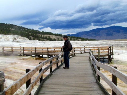 On The Boardwalk At Mammoth Hot Springs