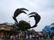 Crab sculpture on the pier