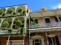 Wrought-iron galleries overlooking the French Quarter