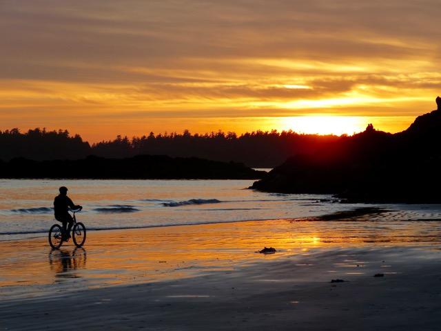 Biking on Mackenzie Beach
