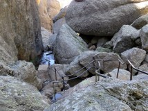 Looking back down the path of boulders
