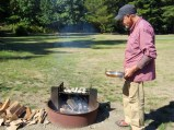 Wood fired oysters at camp—yum!