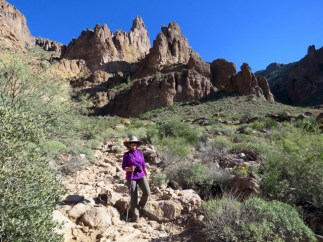 Heading back down the rocky trail