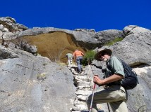 Hiking to the White Shaman pictograph, West Texas