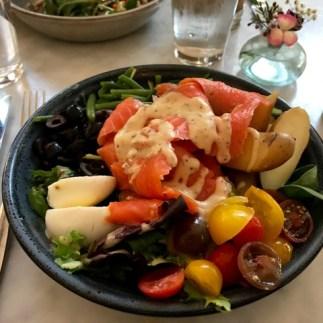 Nicoise Salad with salmon at Collins Quarter