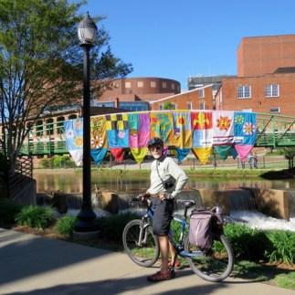 Biking the Swamp Rabbit Trail through downtown Greenville