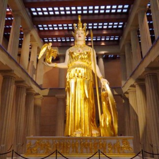 A 42-foot tall gilded Athena in the Parthenon