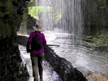 Walking behind Rainbow Falls