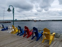 Colorful chairs along the Halifax waterfront