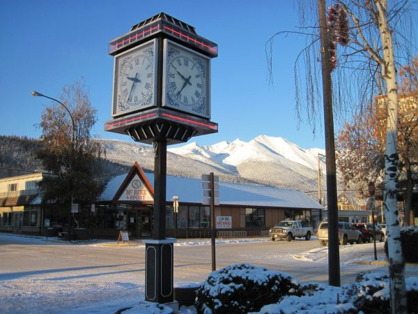 The clock tower on the corner of Main Street and Second Avenue, Smithers BC