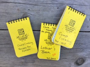 I wrote these camping recipes in Write-in-the-Rain notebooks. The waterproof paper has stood up well to the rigors of wilderness travel. I adjust the recipes to the cook-to-be's personality, tastes, and interests. For Lothar, I keep them simple, as in minimal ingredients and steps, yet he still eats well on his solo trips.