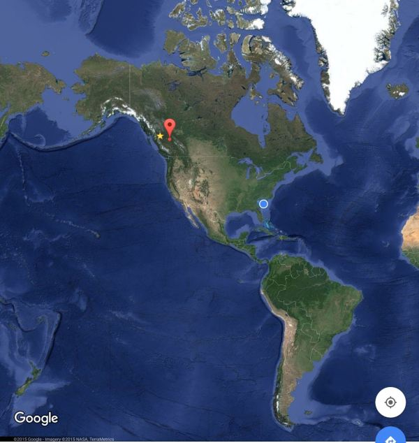 Lothar and I rode from Smithers (yellow star). We picked Welican-the-Pelican up hitch-biking in Prince George (red exclamation mark) and now we are in Charleston (blue dot).