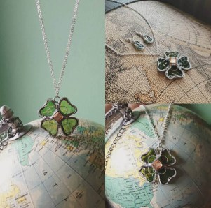 (Sold: Eindhoven, The Netherlands) Four leaf necklace & Earrings