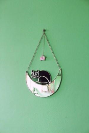 Crescent Moon Black Cat Loaf Mirror