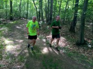 Tony and Eric on the Red trail section of Raven Rocks Run course.