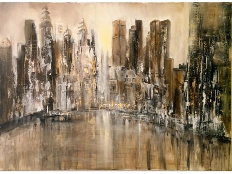 Carmen Bihler: (2016) Skyline, Acryl-Öl