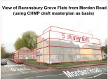 Ravensbury Grove with 4 & 5 storey flats at the entrance