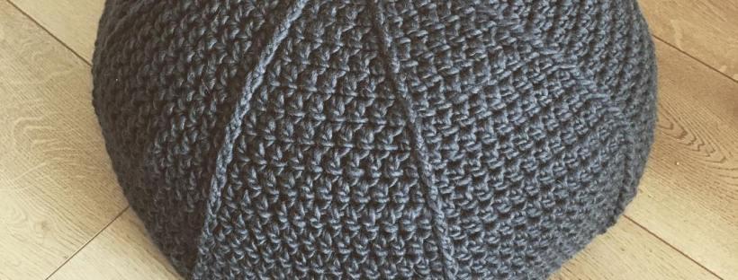 Crocheted pouf in frontpost double crochet