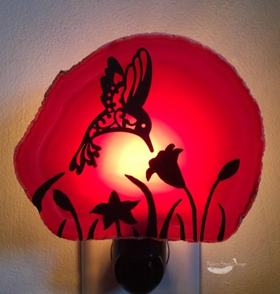 Hummingbird Agate Slice Night Light