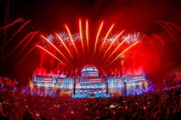 Die Mainstage des Airbeat One Festivals 2017 mit dem Motto USA, Capitol, EDM, Electro, Big Room, Neustadt-Glewe, Feuerwerk