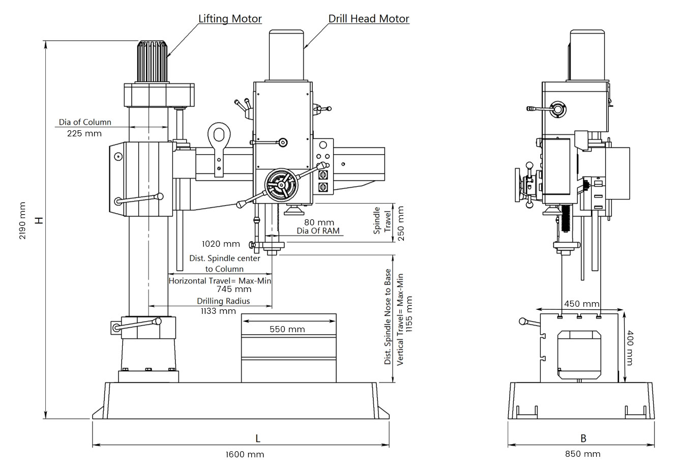 All Geared Auto Feed Radial Drill Machine Dc410