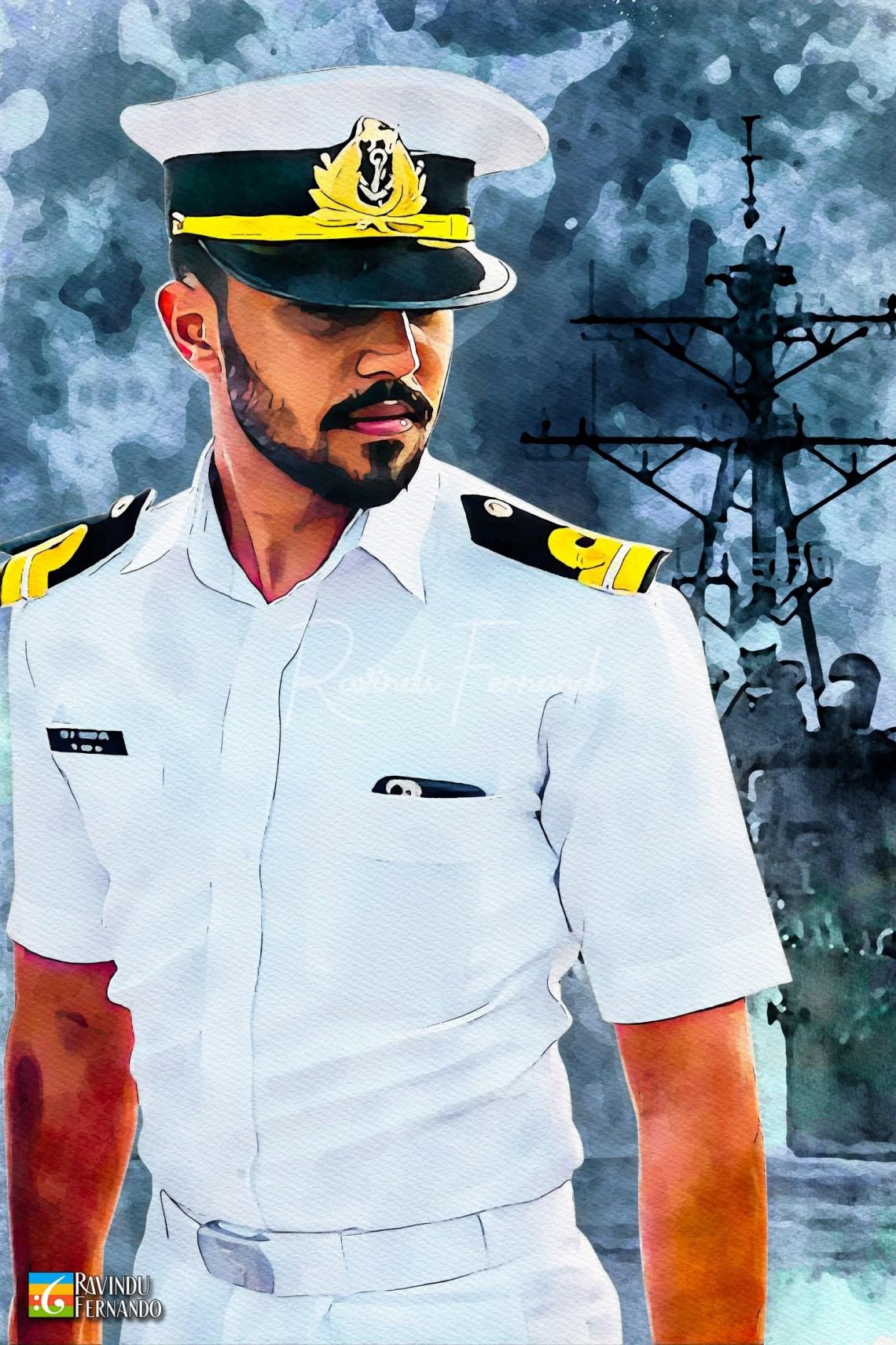 Navy Man - Digital Watercolor Painting