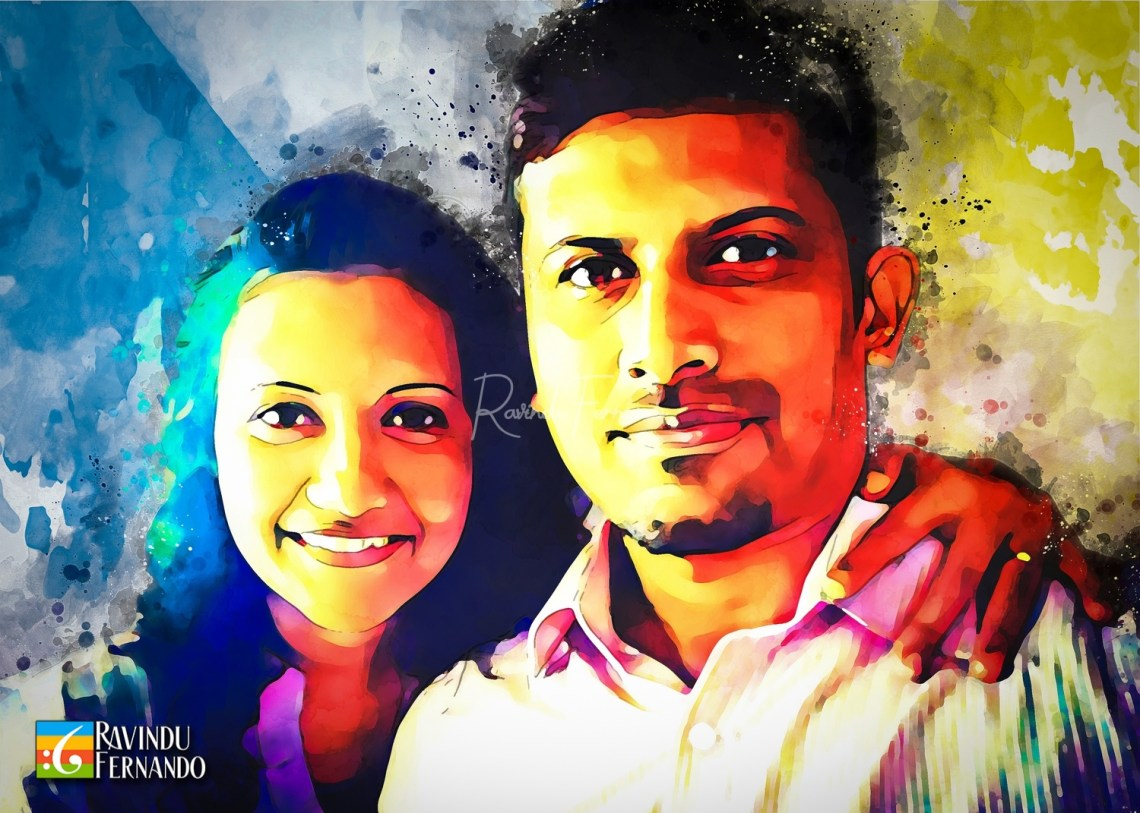Dilantha Rathnayake and his wife - Digital Watercolor Painting