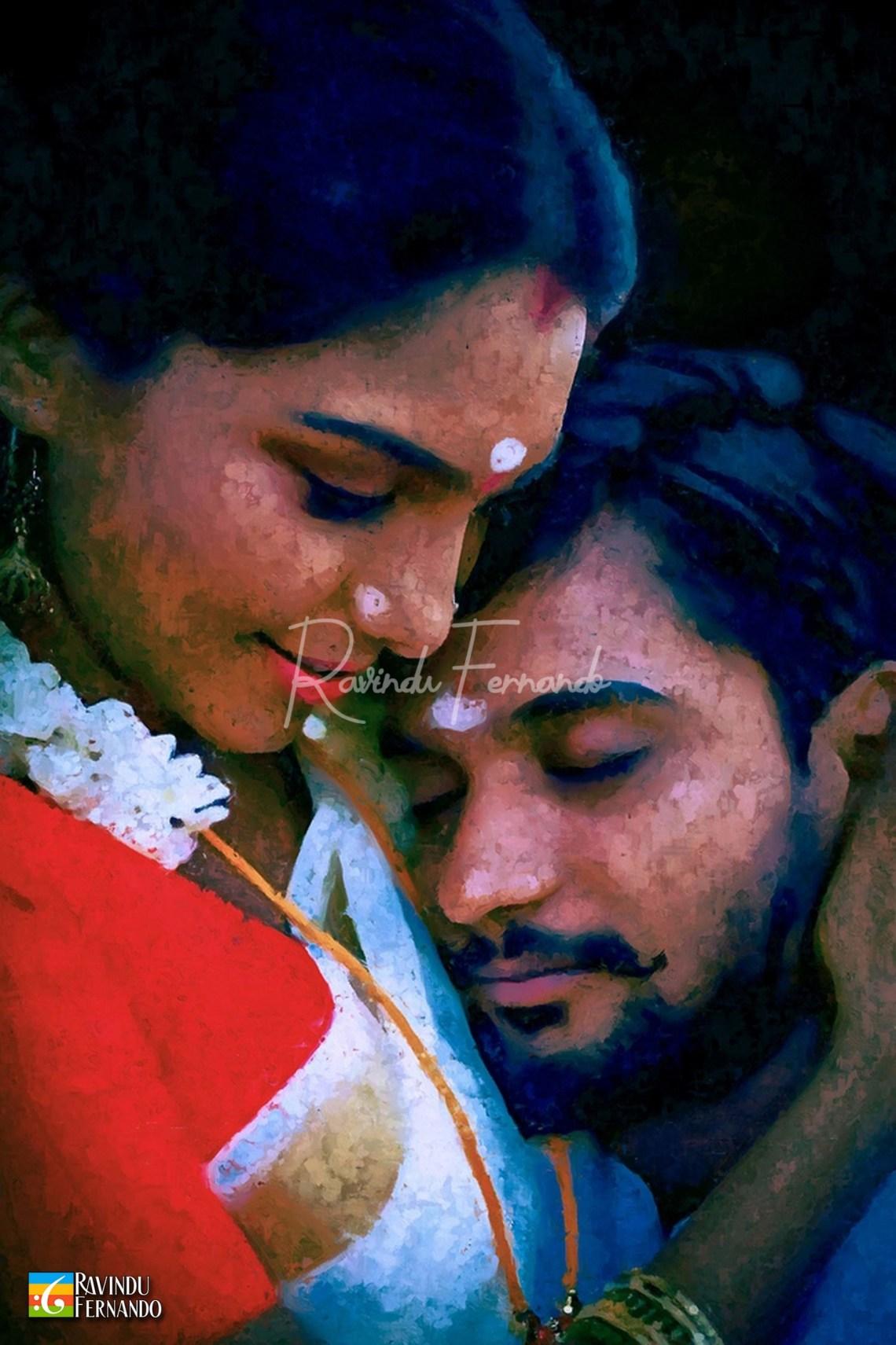 Randika Gunathilaka and Yashoda Rasanduni Digital Oil Painting by Ravindu Fernando