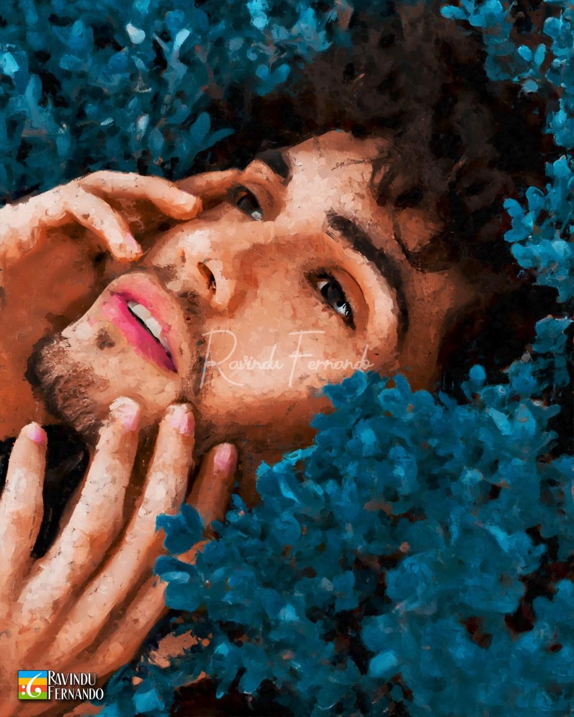 Boy with blue leves - Digital Oil Painting By Ravindu Fernando