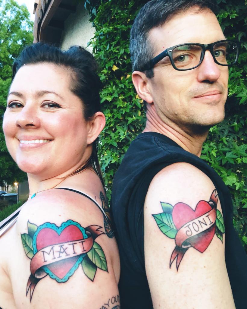 Wife Name Tattoos : tattoos, Matching, Tattoos, Husband, Because, Wanted, Curse, Marriage, Ravishly