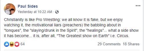 Paul Sides enjoys watching fake Christianity