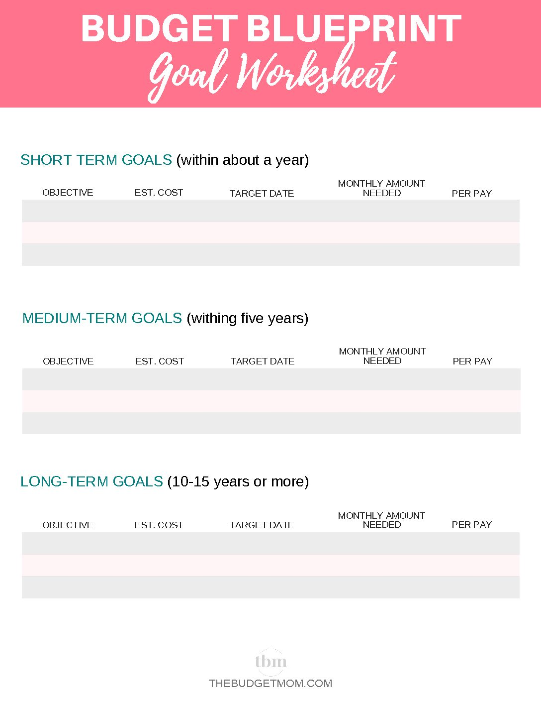 Budget Blueprint Goal Worksheet
