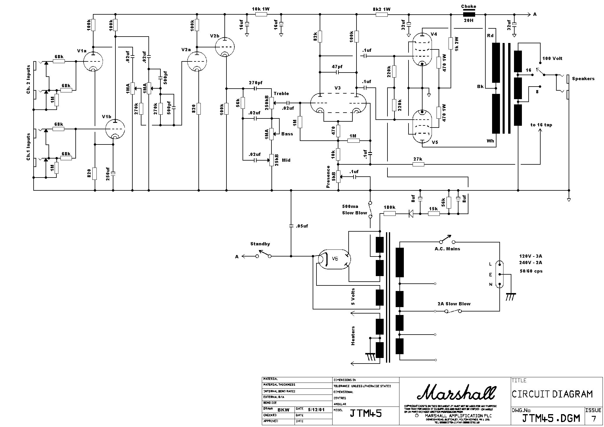 Understanding the basic tube amp circuit(The Marshall JTM