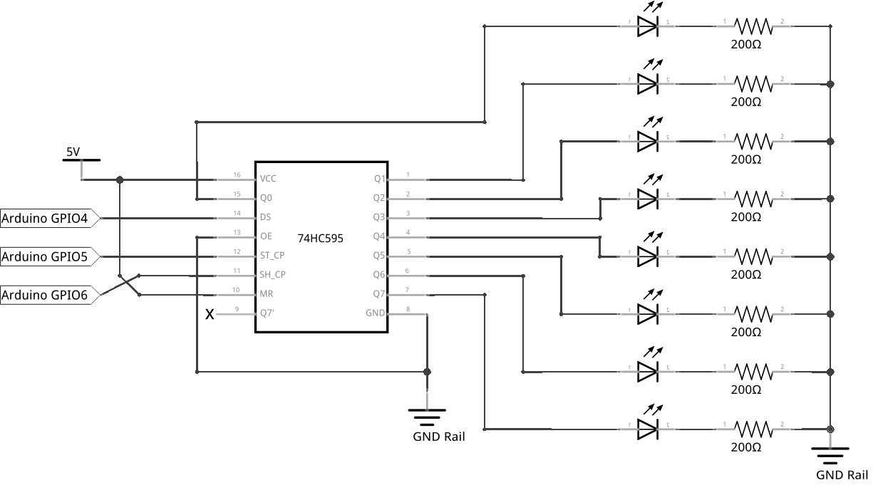 hight resolution of circuit diagram of the shift register experiment