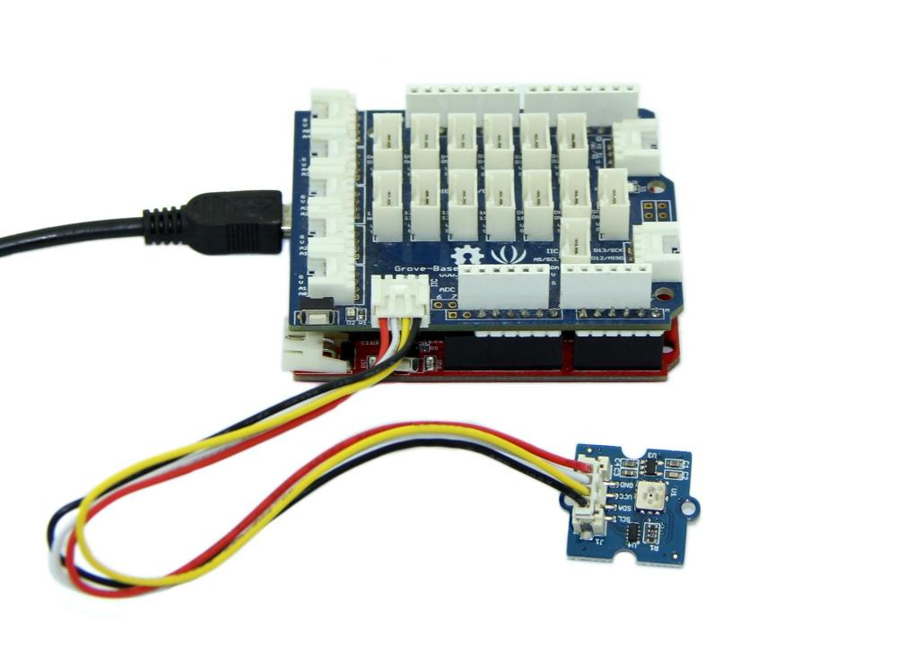 medium resolution of connect it to i2c port of seeeduino or grove base shield via a grove cable and connect arduino to pc via a usb cable