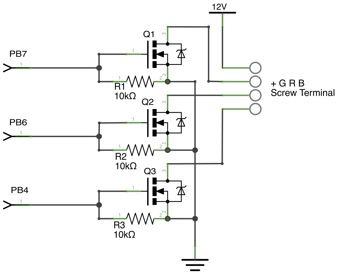 led strip using a nmosfet to switch a common cathode ledstrip