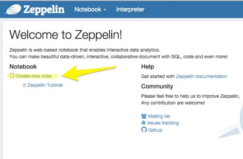 Apache Zeppelin create page
