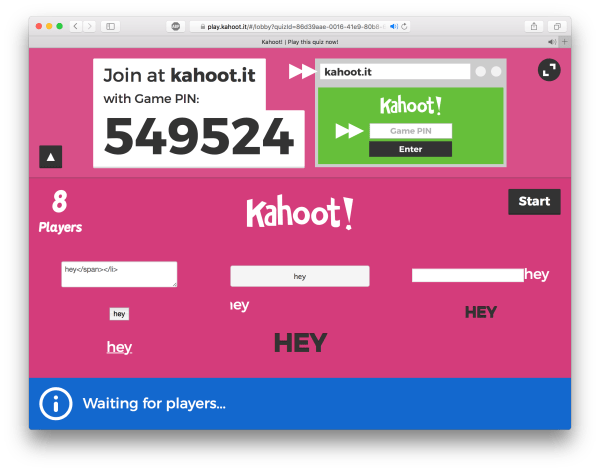 Kahoot Game Pins 2017 - Year of Clean Water