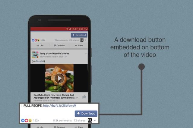 Ketuk pada tombol unduhan dibawah video Facebook