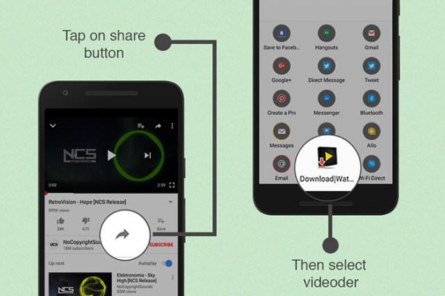 Bagikan video Youtube melalui Videoder
