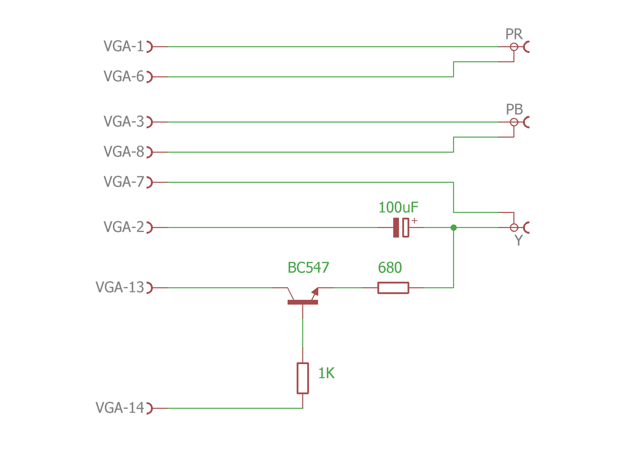 hight resolution of schematic circuit is very simple and can be placed inside the vga connector case
