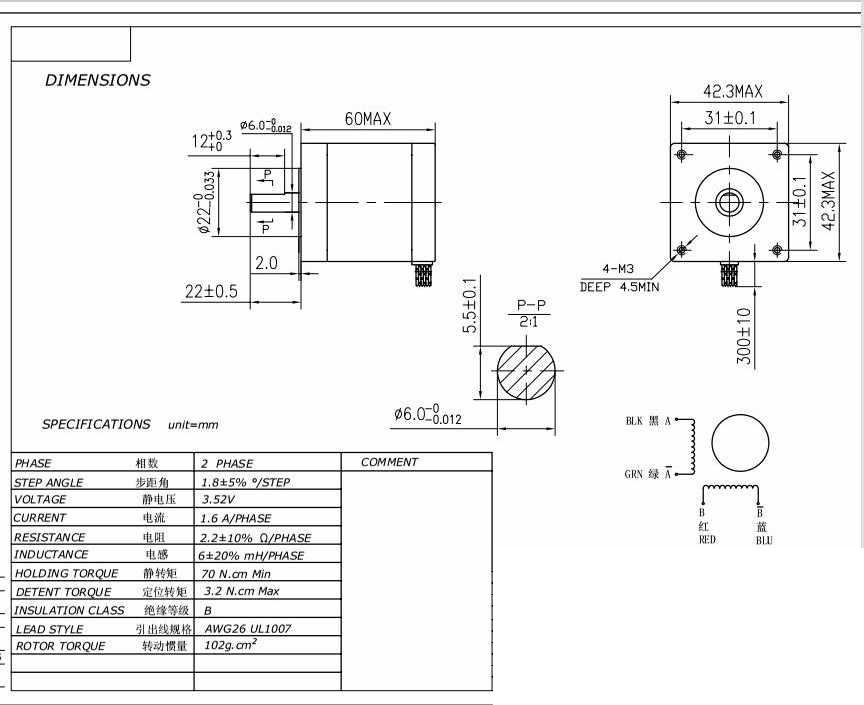 Stepper motor Nema17 for smaller CNC machine or 3D printer
