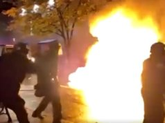 Portland Rioters Throw What Appears to Be a Massive Molotov At Police