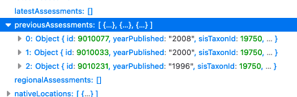 screen capture of a bit of data in JSON format