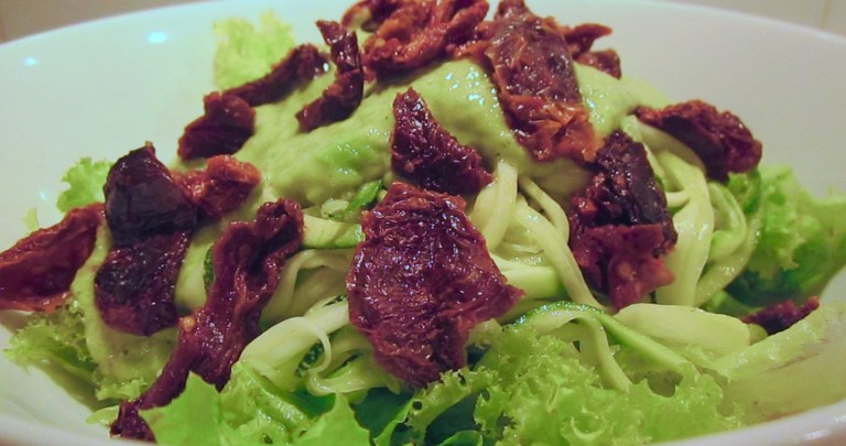 Zucchini Noodles with Creamy Avocado Sauce & Sun-dried Tomatoes