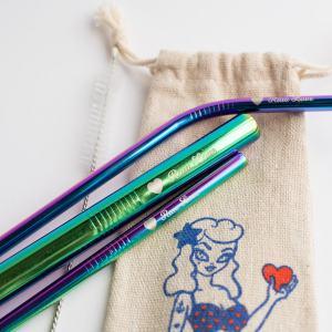 rainbow metal straws
