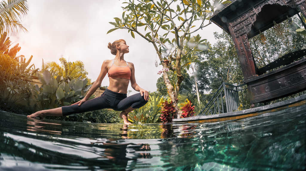 Bali yoga by the pool
